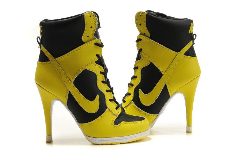 Nike Heels Women Fashion Shoes Black Yellow Wholesale 232 Botines Nike muy Fashion de tacones alto