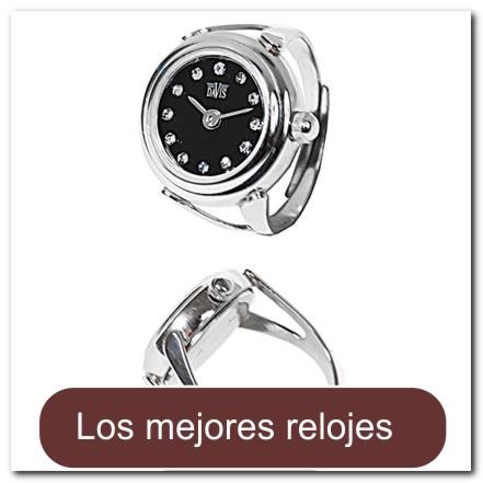 ccd270c6fd4c Reloj anillo plateado decorado con cristales