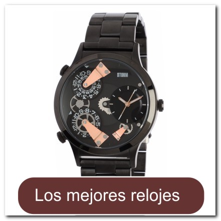 Reloj color negro/oro rosado con hora triple