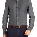 Camisa casual lisa (slim fit) de BOSS