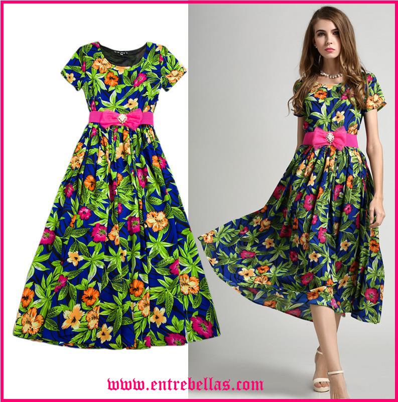 Como llevar un vestido largo estampado