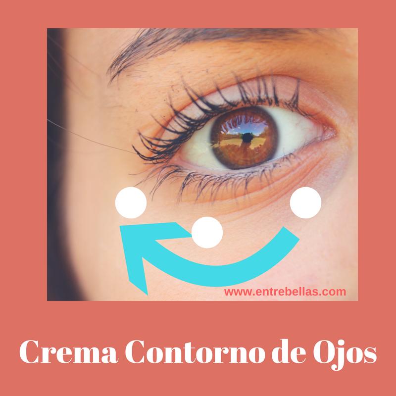 Aplicación de crema de contorno de ojos.